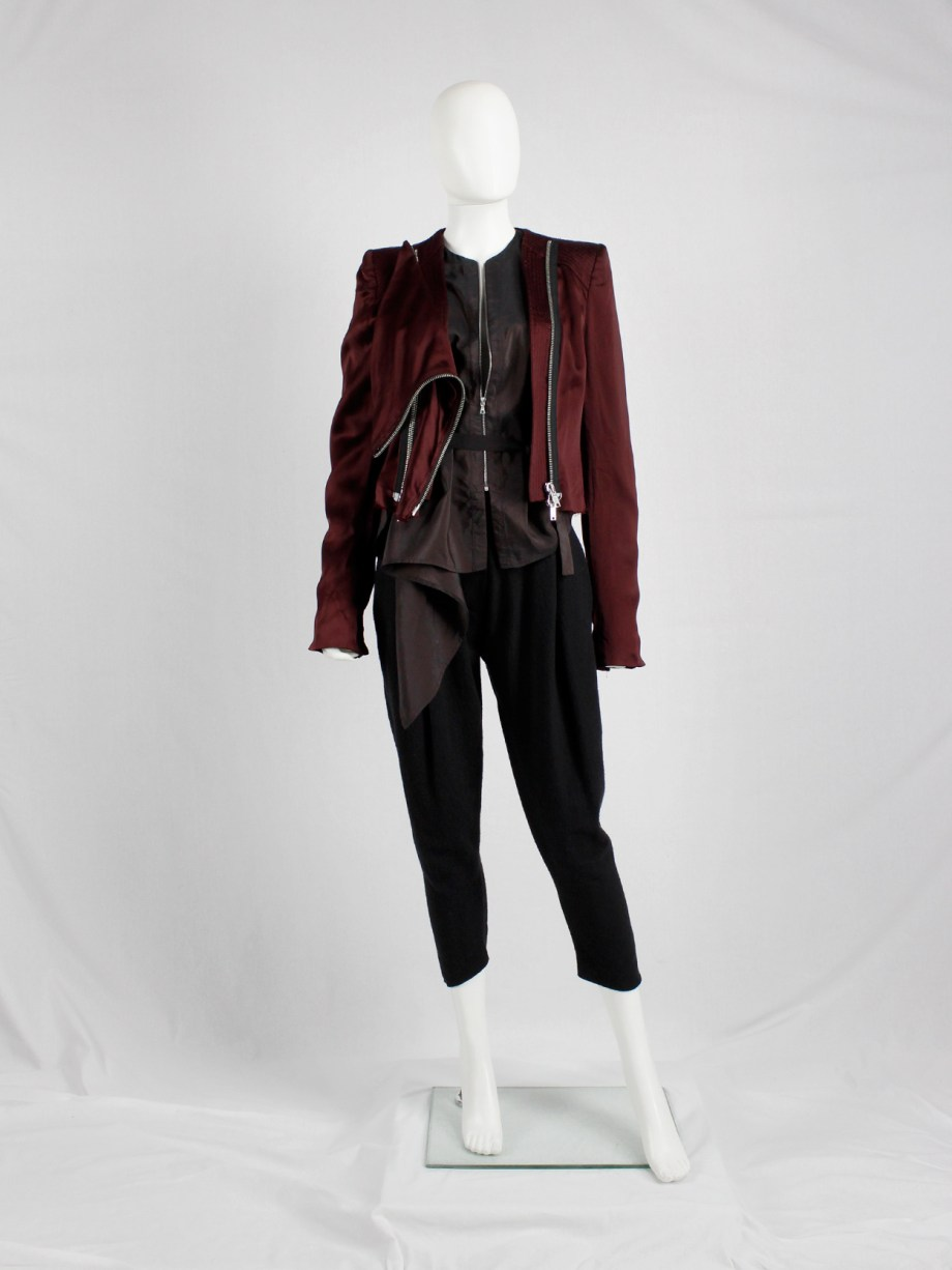 Haider Ackermann burgundy jacket with double front zipper fall 2009 (3)