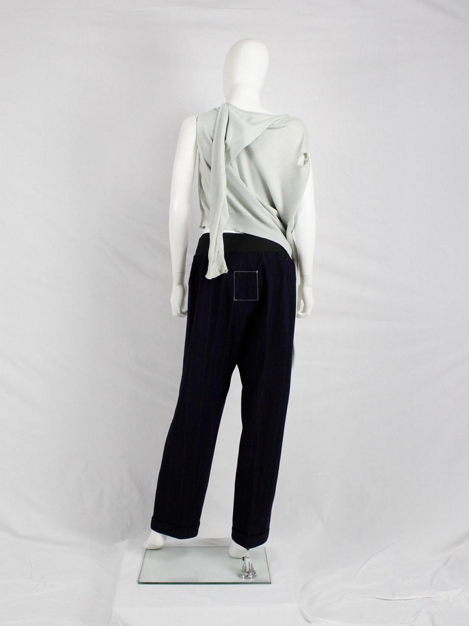 Maison Martin Margiela mint green longsleeve jumper worn sideways — spring 2005