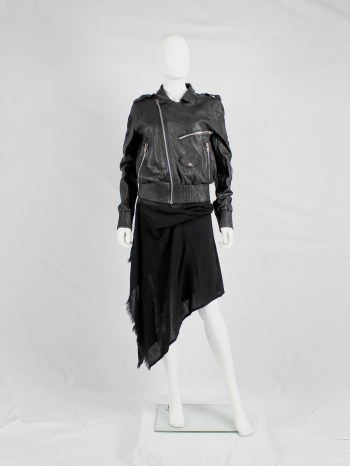 Marjan Pejoski black leather biker jacket with emboidered skull