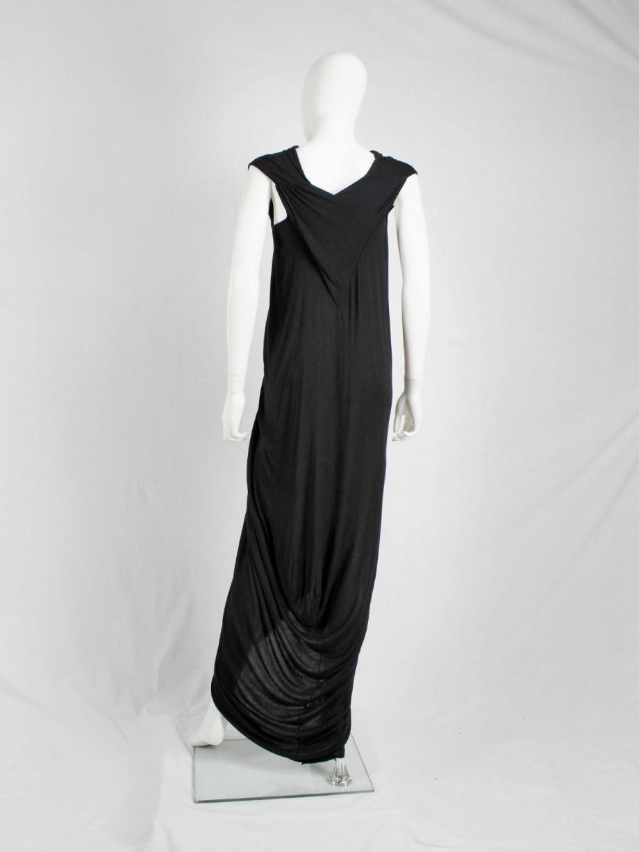 Rick Owens ISLAND black draped maxi dress with triangular top — spring 2013