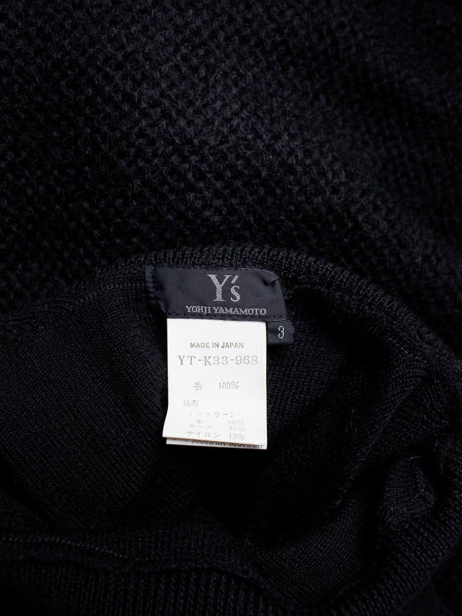 Y's Yohji Yamamoto black jumper with attached panel or scarf and extra long sleeves