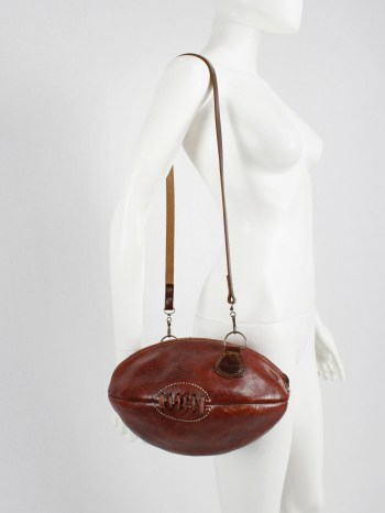 Maison Martin Margiela artisanal shoulderbag made of a vintage rugby ball — 2003
