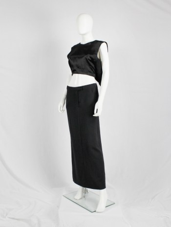 Ann Demeulemeester black straight maxi skirt with back slit — 1990's
