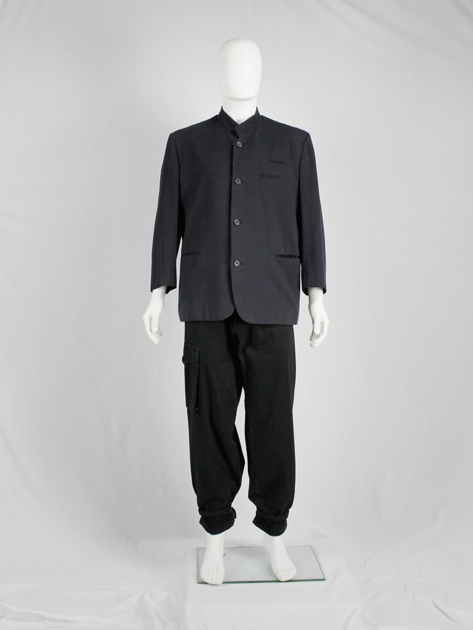 Comme des Garçons Homme black minimalist blazer with two breast pockets — early 80's