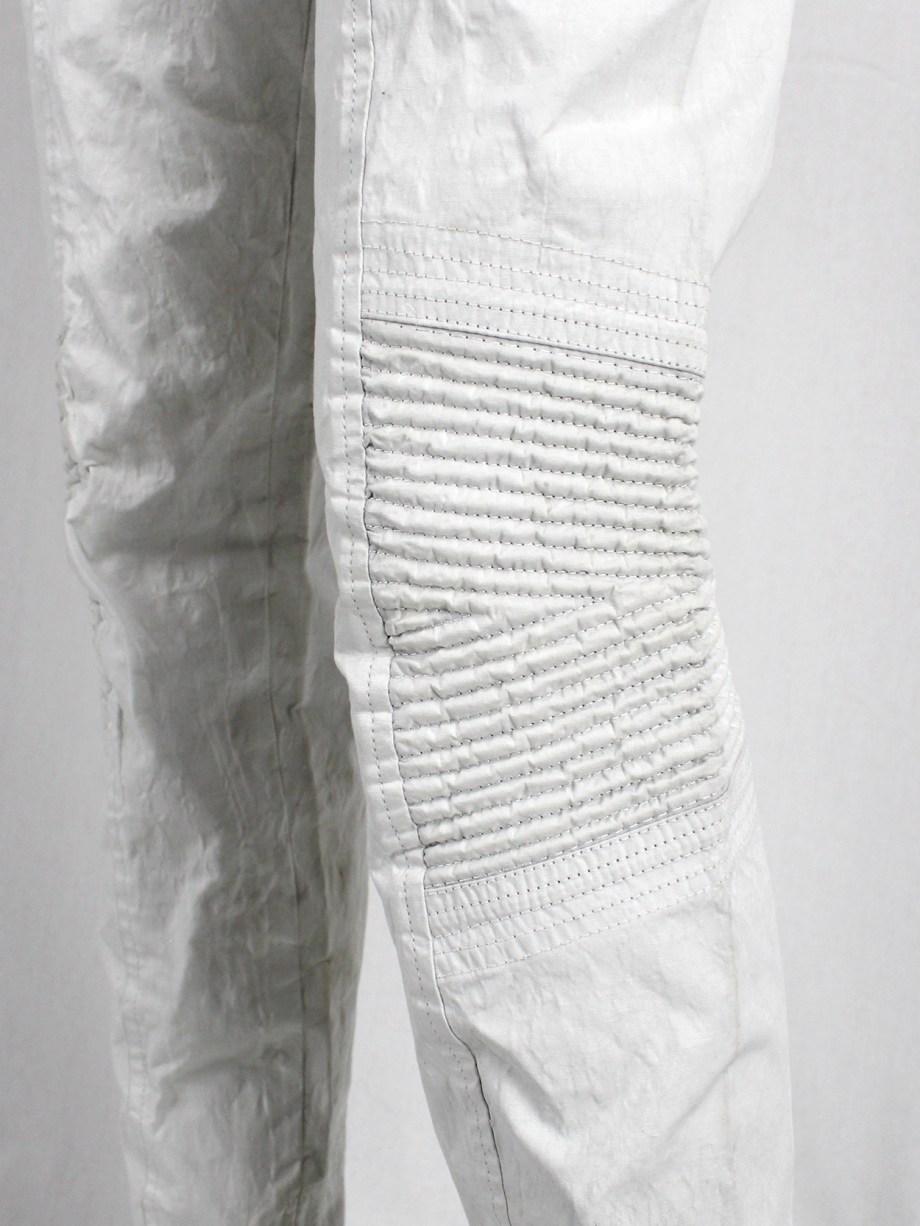 A.F. Vandevorst white biker pants made of 'wrinkled paper' — spring 2016