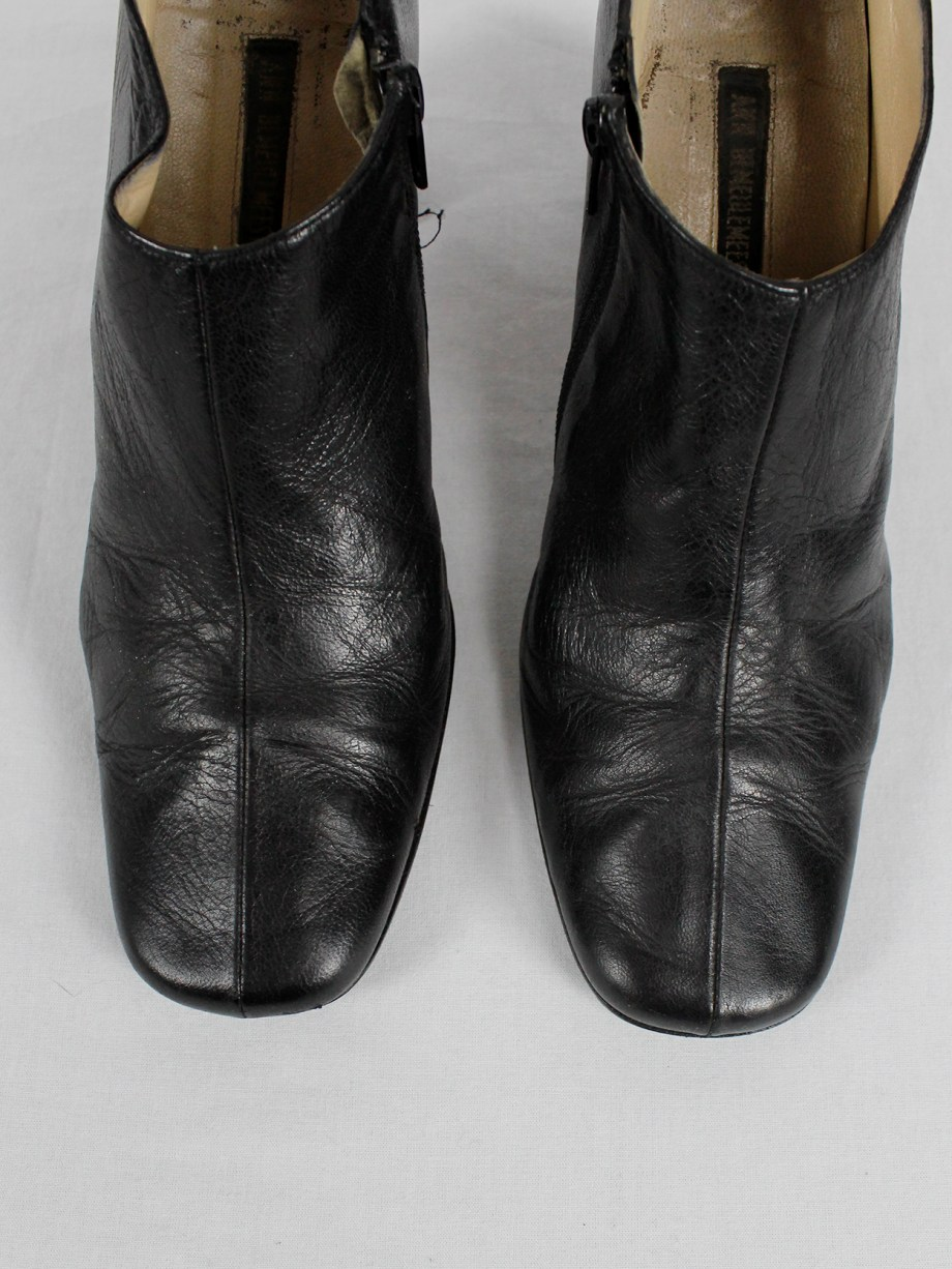Ann Demeulemeester black below-ankle boots with banana heel 1990s 90s (14)