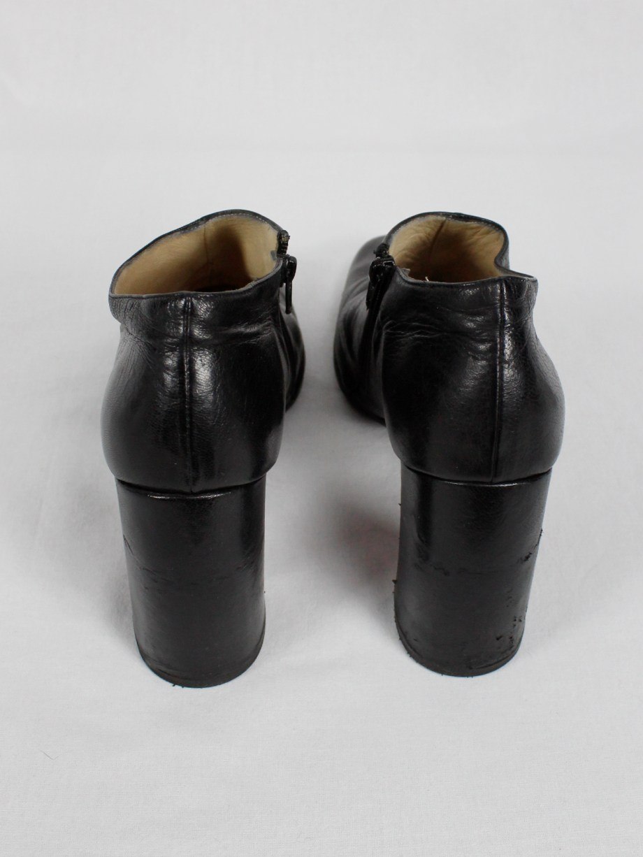 Ann Demeulemeester black below-ankle boots with banana heel 1990s 90s (16)