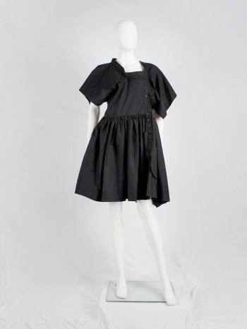 Bernhard Willhelm black babydoll dress made of a deconstructed shirt — spring 2012