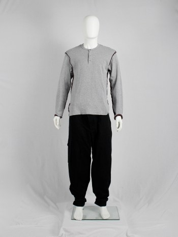 Comme des Garçons Homme grey jumper with inside out seams in striped fabric
