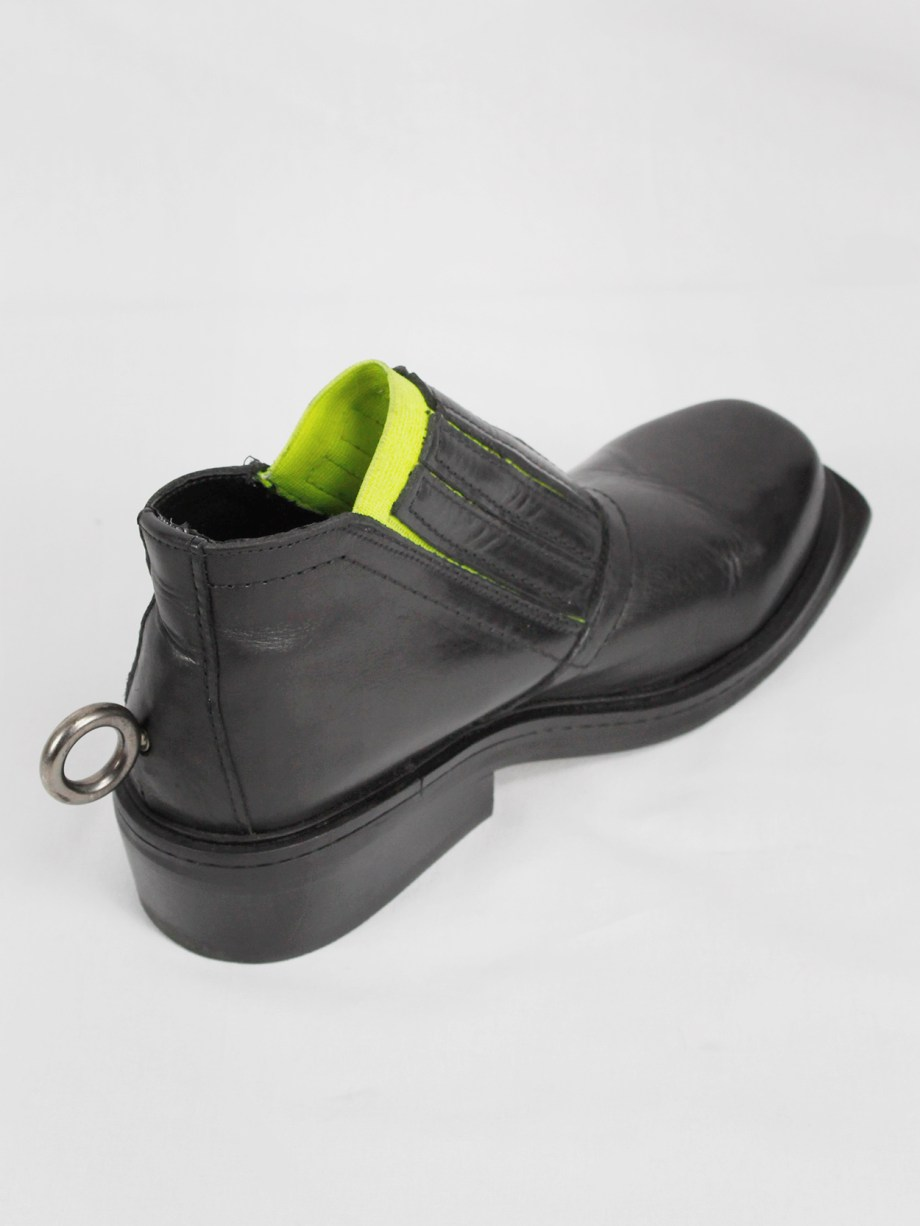 Dirk Bikkembergs black ankle boots with metal ring and neon elastic spring 1998 (13)