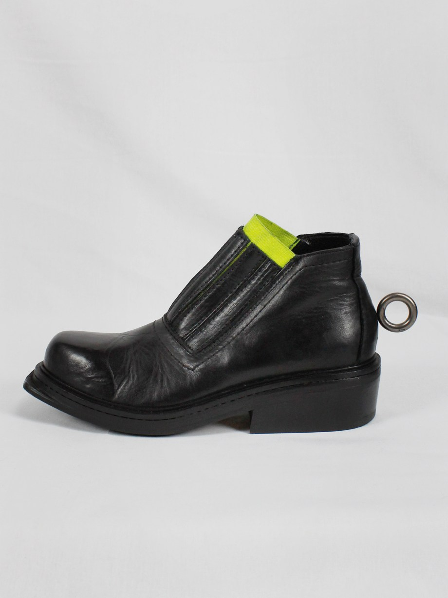 Dirk Bikkembergs black ankle boots with metal ring and neon elastic spring 1998 (15)