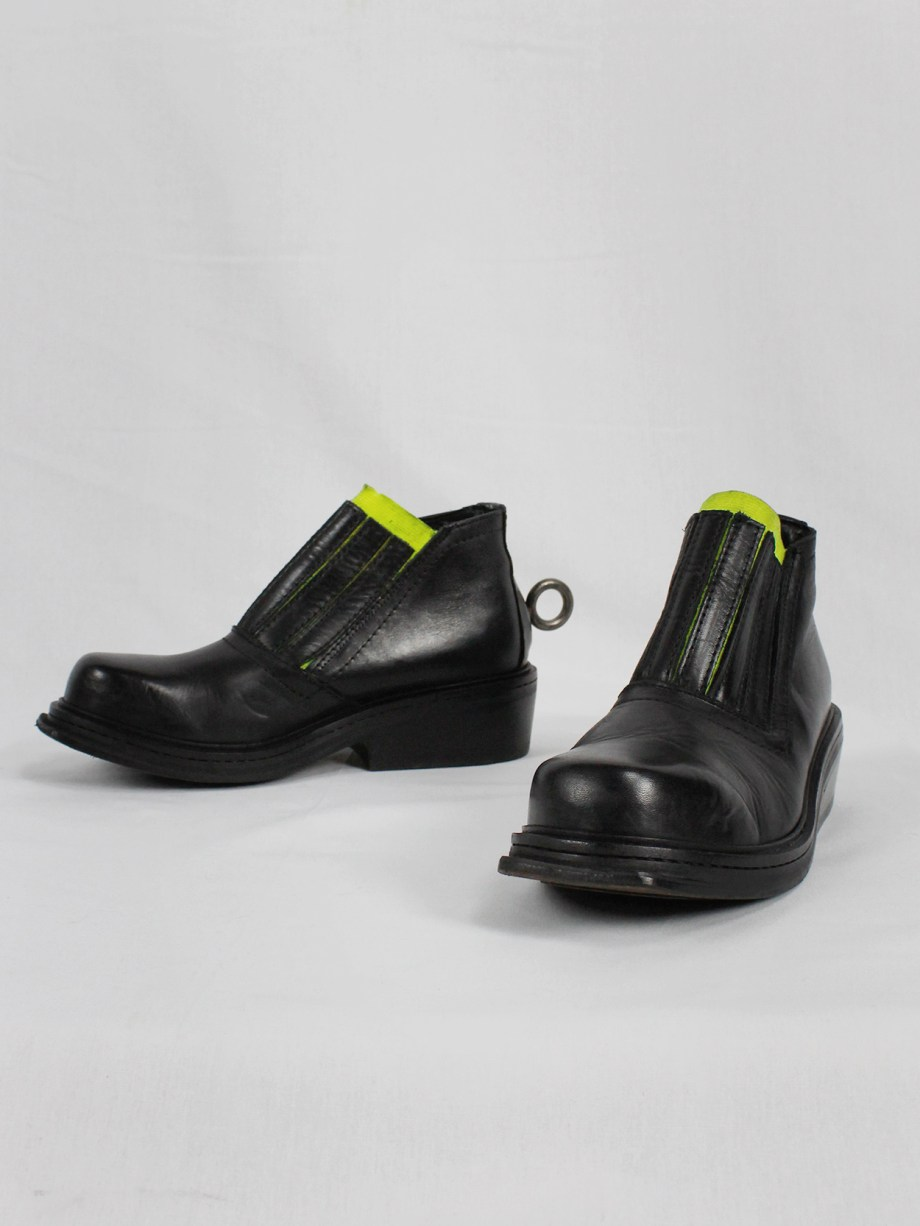 Dirk Bikkembergs black ankle boots with metal ring and neon elastic spring 1998 (2)