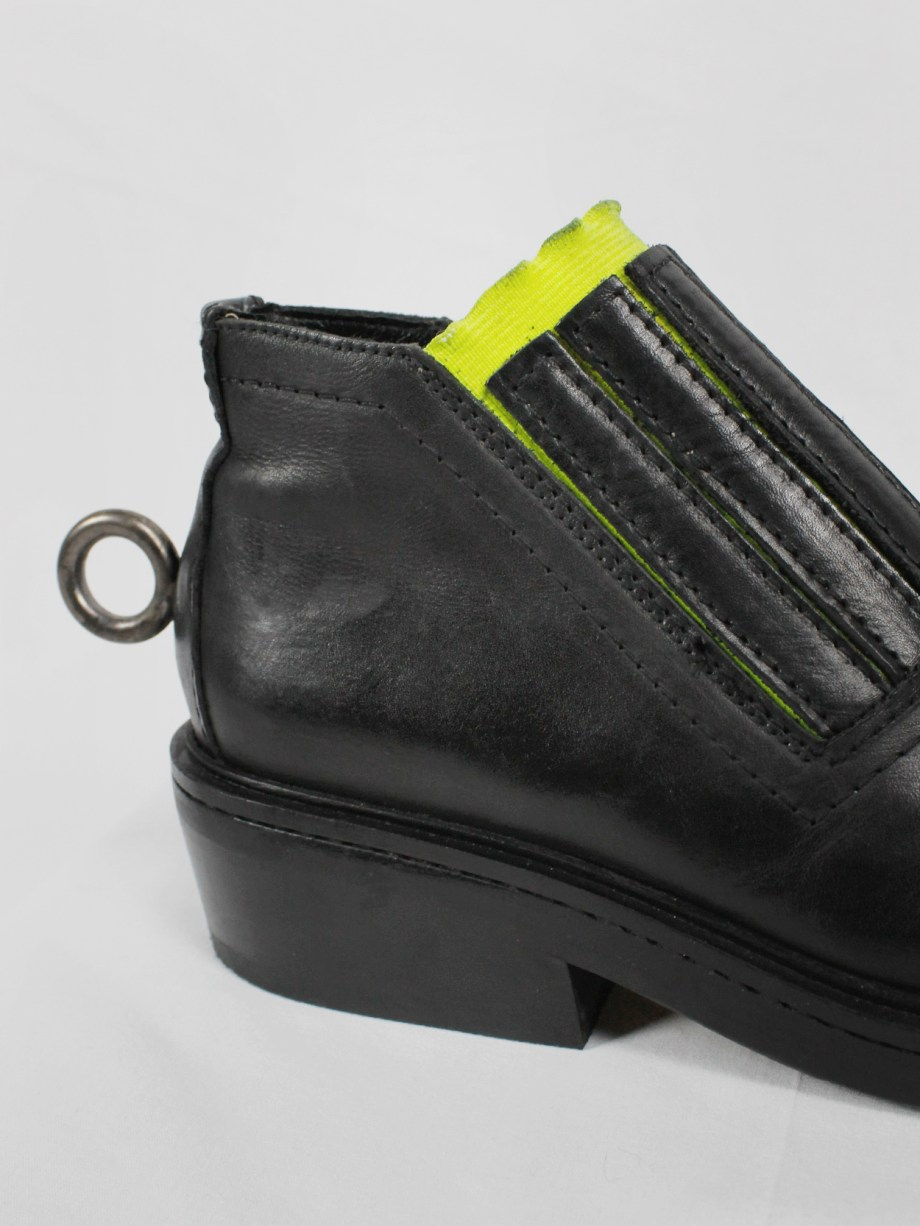 Dirk Bikkembergs black ankle boots with metal ring and neon elastic spring 1998 (7)
