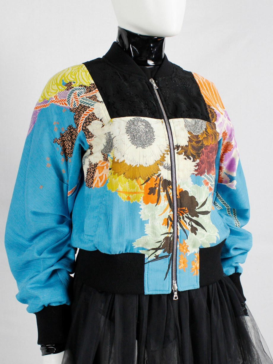Dries Van Noten blue bomber jacket with floral woodblock print and black embroidery — spring 2017