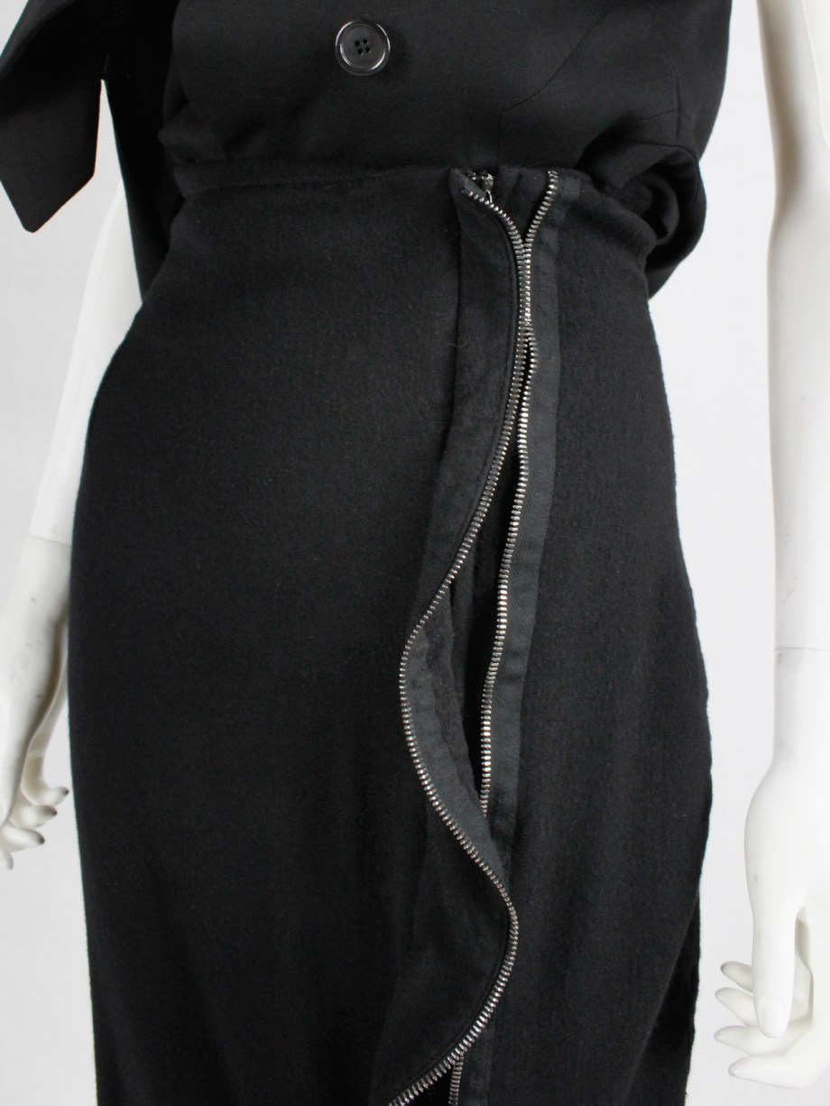 Haider Ackermann black pencil skirt with two zipper waves runway fall 2012 (7)