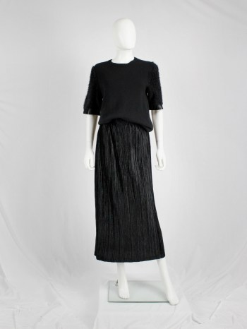 Issey Miyake black velvet maxi skirt with fine pressed pleats
