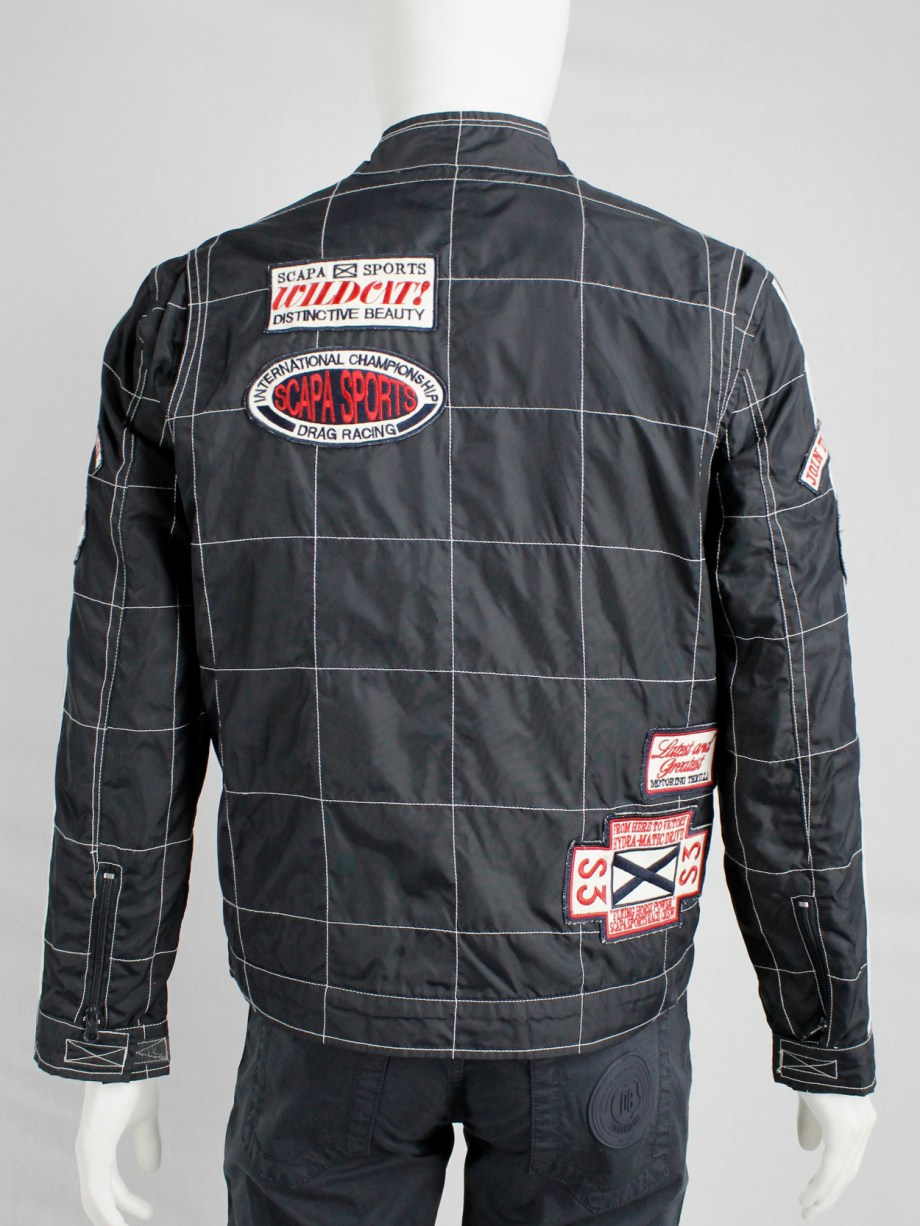 Walter Van Beirendonck for Scapa dark blue 'Formula 1' jacket with red stripes and patches (1)