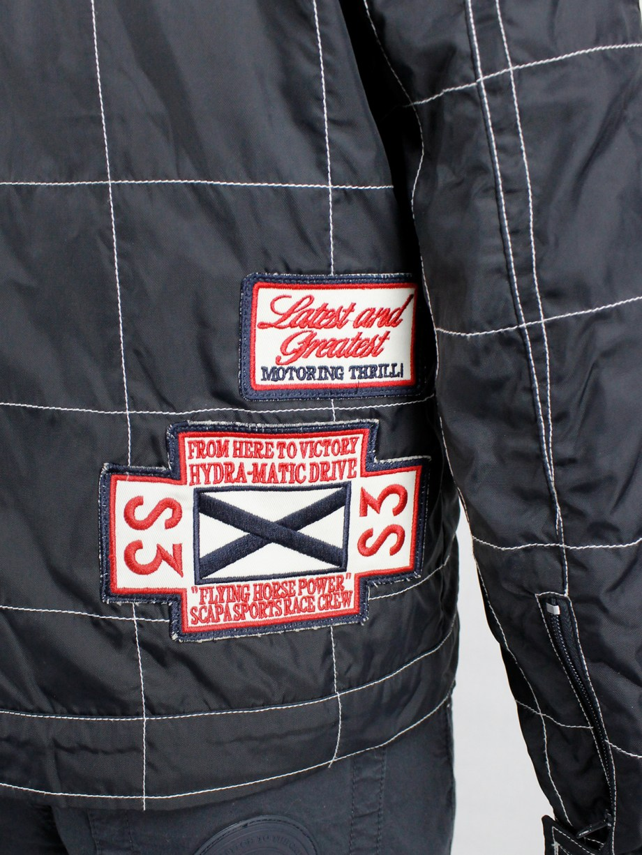Walter Van Beirendonck for Scapa dark blue 'Formula 1' jacket with red stripes and patches (2)