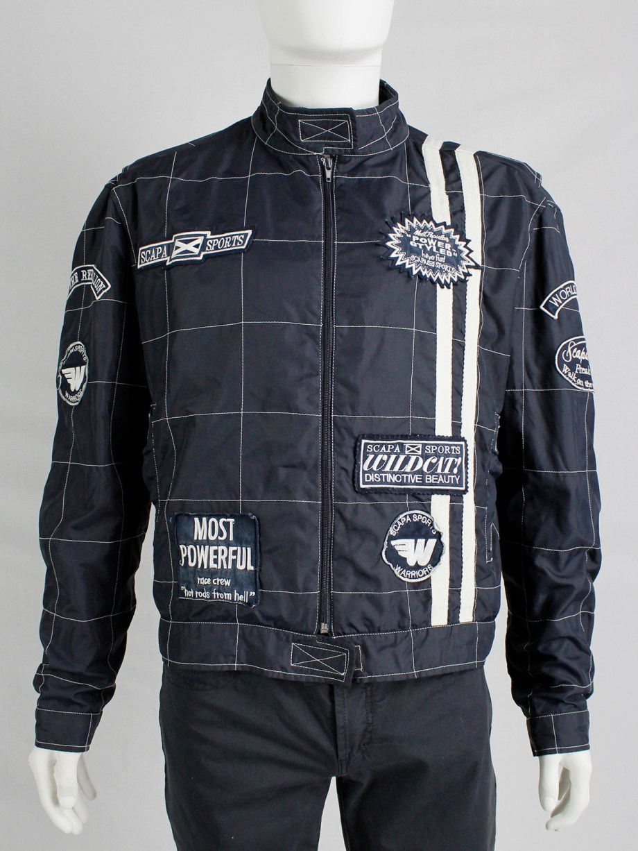 Walter Van Beirendonck for Scapa dark blue 'Formula 1' jacket with white stripes and patches (10)
