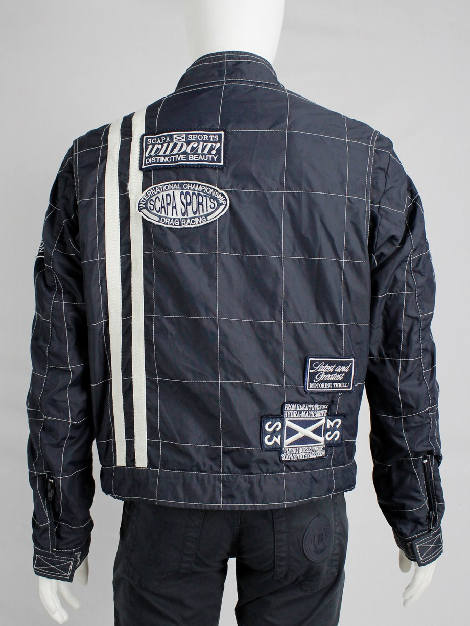 Walter Van Beirendonck for Scapa dark blue 'Formula 1' jacket with white stripes and patches (6)