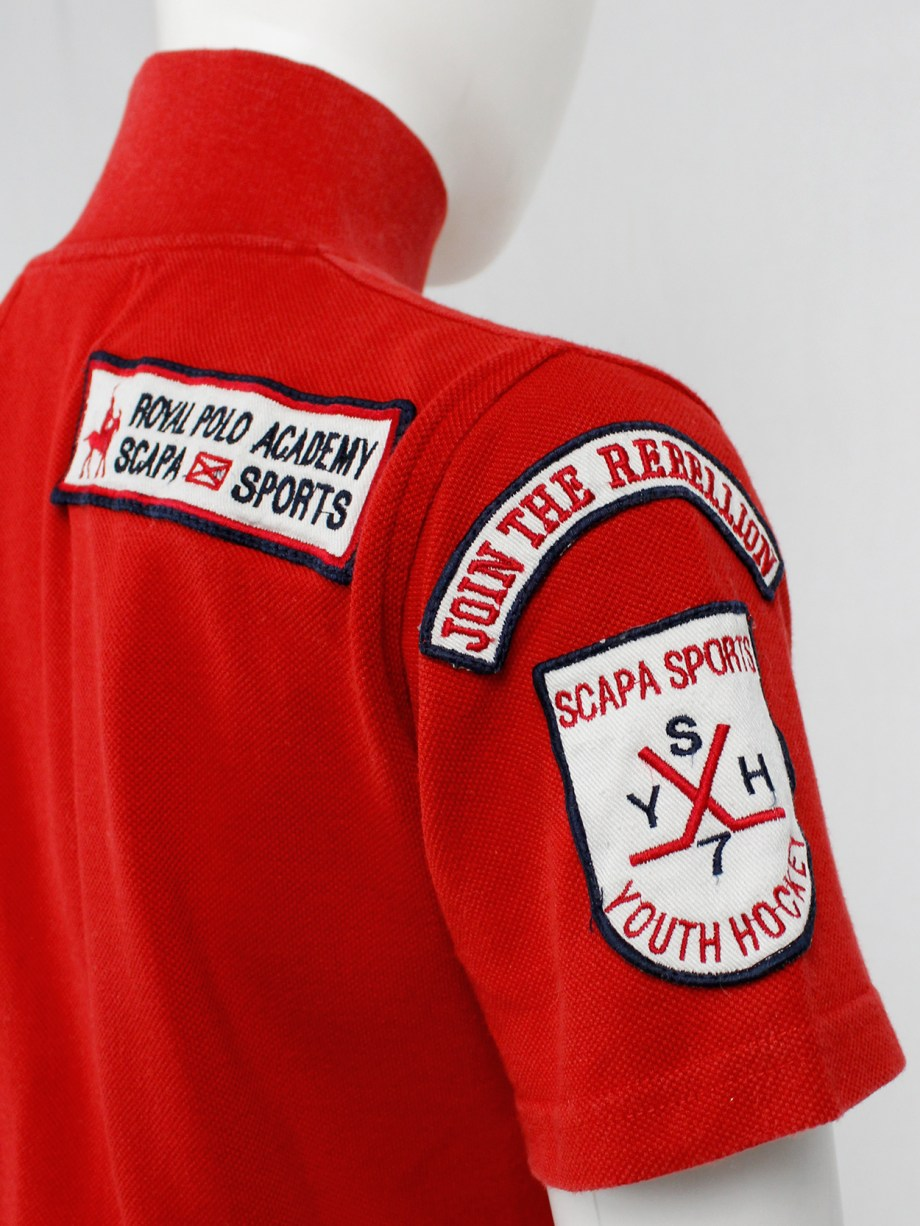 Walter Van Beirendonck for Scapa red 'Formula 1' poloshirt covered with patches (3)