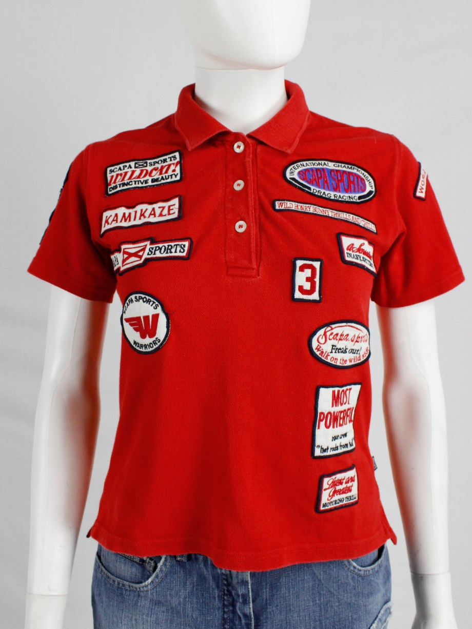 Walter Van Beirendonck for Scapa red 'Formula 1' poloshirt covered with patches (8)