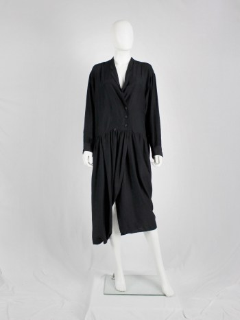 Y's Yohji Yamamoto black loose shirtdress with lapels — 1980's