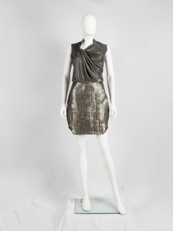 A.F. Vandevorst silver metal plated skirt with geometric design — spring 2011