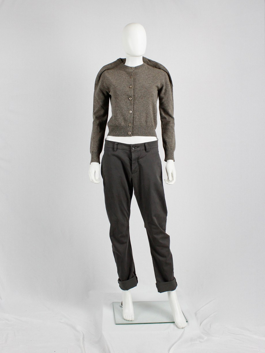 archive Margiela brown jumper with round shoulder tuck fall 1997 (2)