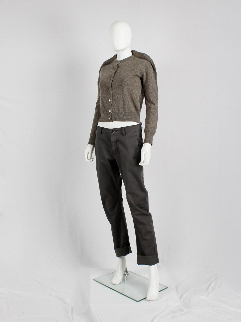 Maison Martin Margiela brown cardigan with round shoulder tuck — fall 1997