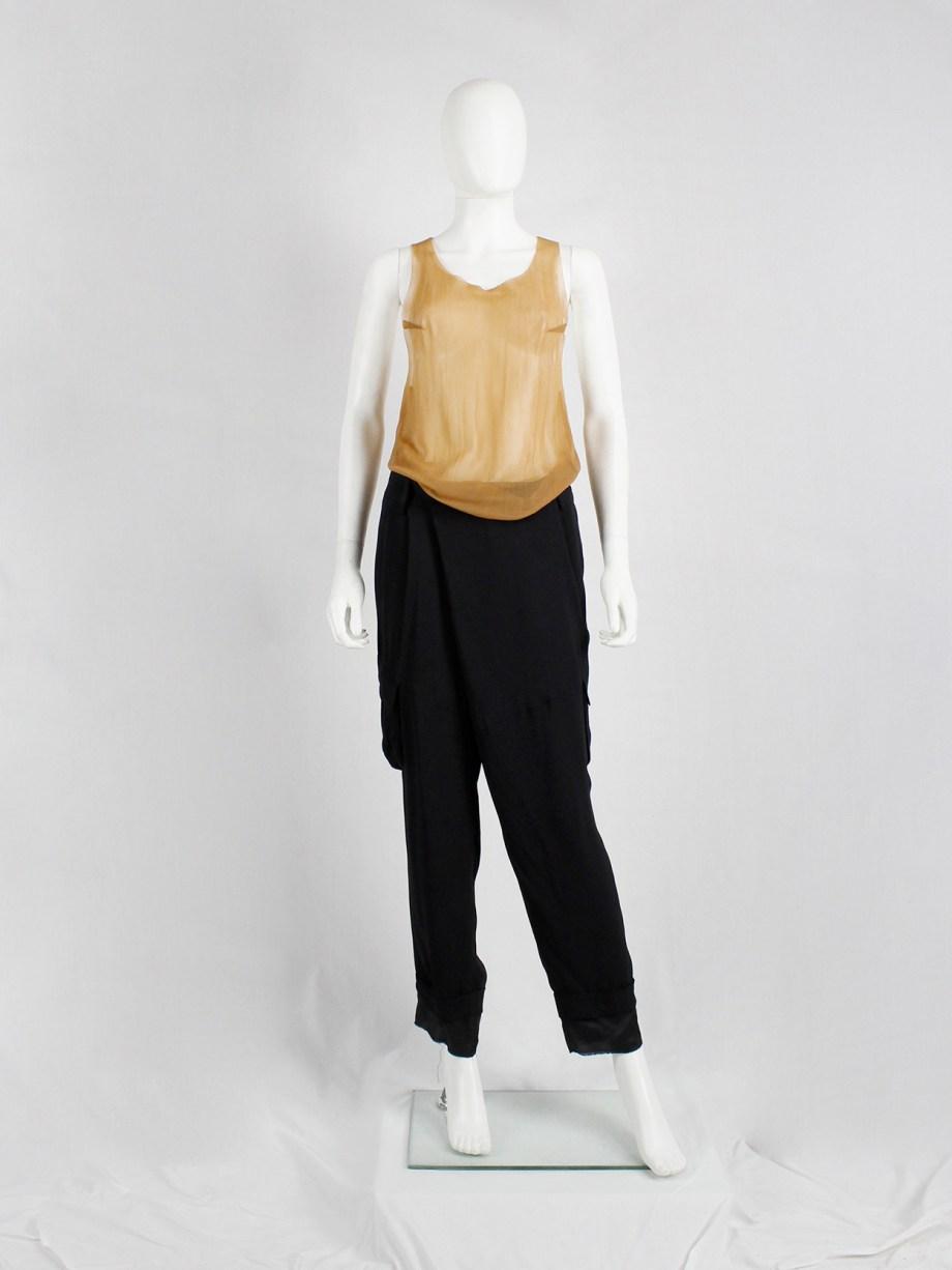 A.F. Vandevorst dark beige sheer top with black felt back number 21 — spring 2001