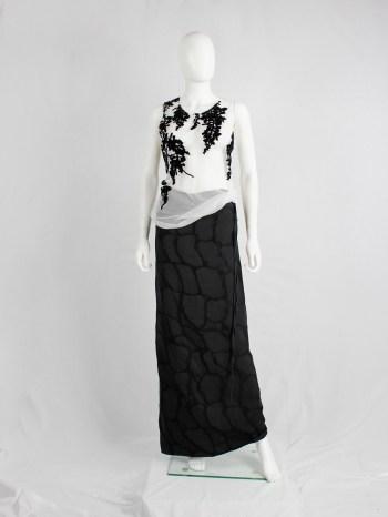 Ann Demeulemeester white mesh top with black velvet wisteria print — spring 2014