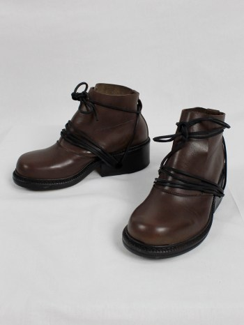 Dirk Bikkembergs brown boots with flap and laces through the soles (36) — fall 1994
