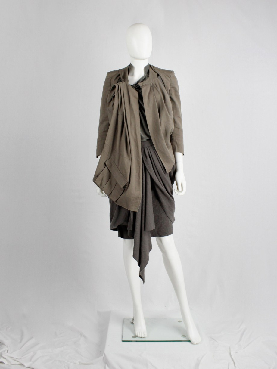 Haider Ackermann beige jacket with draping, cut outs and cargo pocket — spring 2010