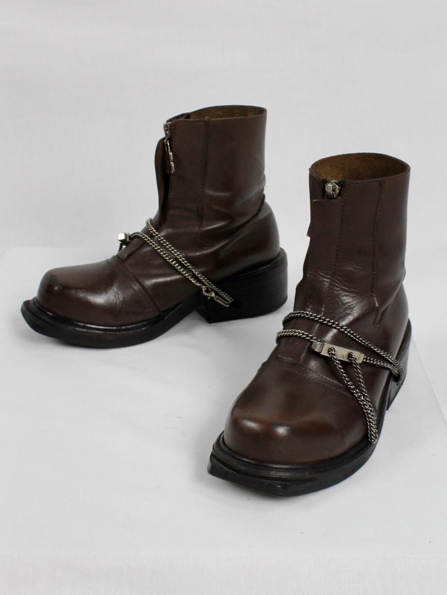 Dirk Bikkembergs brown mountaineering boots with silver chain through the soles 1990s 90s (10)