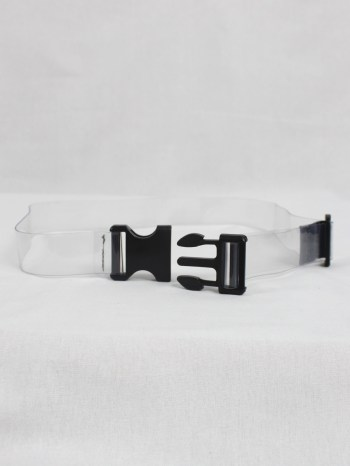 Dries Van Noten clear belt with black safety buckle closure — spring 2019