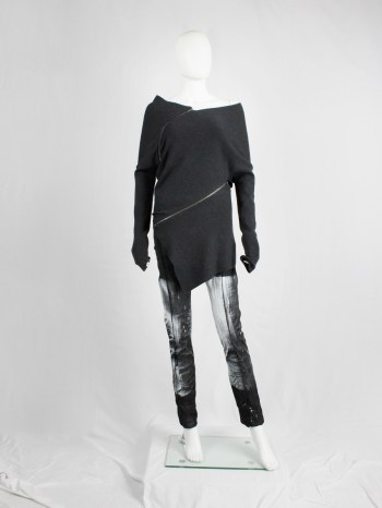 Maison Martin Margiela 1 dark grey jumper with spiralling zippers — fall 2012