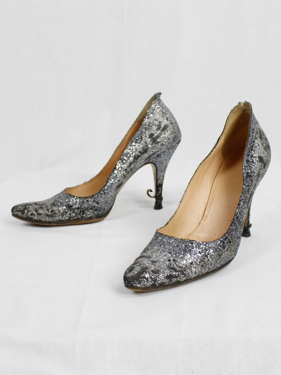 Maison Martin Margiela silver glitter afterparty pumps with destroyed look (38) — spring 2005