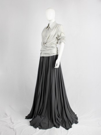 A.F. Vandevorst khaki green maxi circle skirt with frayed hems