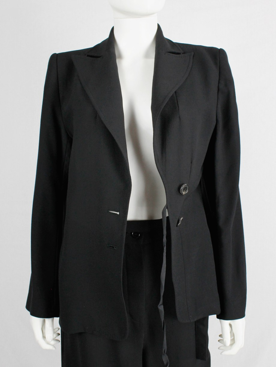 Ann Demeulemeester Blanche re-edition of a fall 1996 asymmetric black blazer (11)