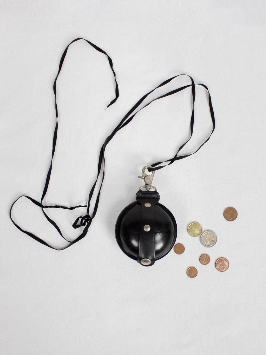 Ann Demeulemeester black large leather coin pouch on a necklace — 2000