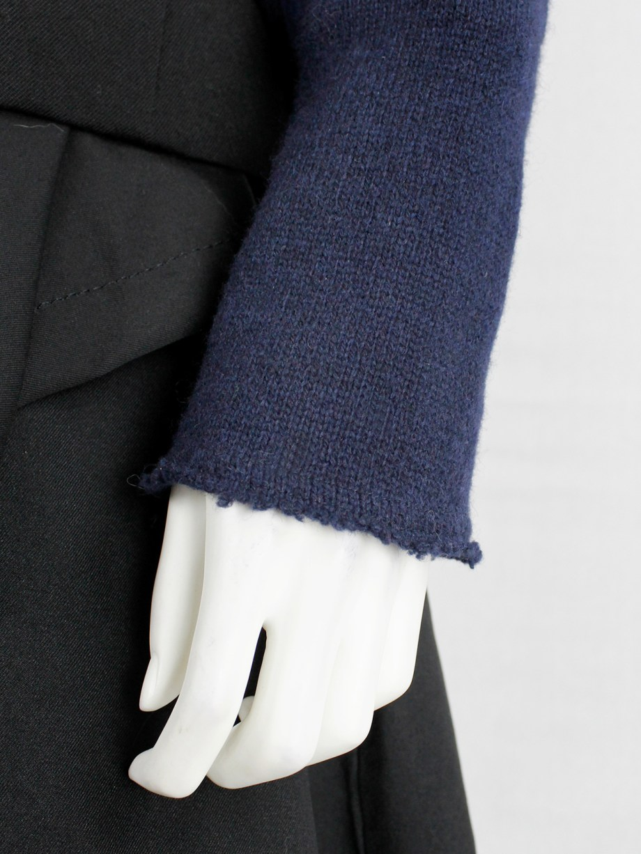 Comme des Garçons dark blue knit bolero with tied knot front closure — fall 2003