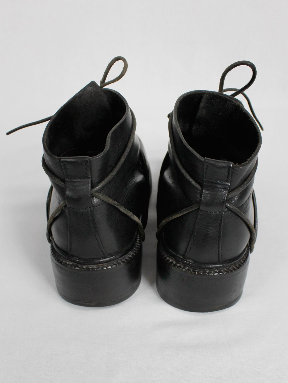 Dirk Bikkembergs black boots with flap and laces through the soles fall 1994 (4)