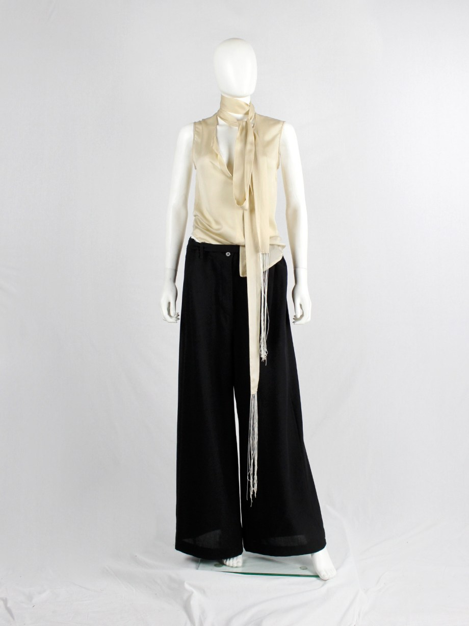 Haider Ackermann pastel yellow blouse with neckties with long fringes (8)
