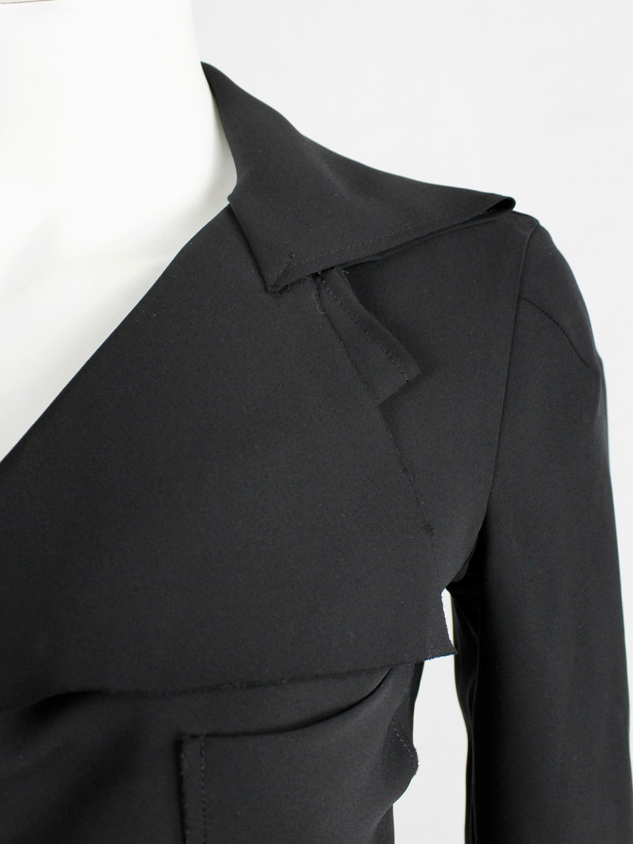 Junya Watanabe black lightweight blazer with folded front — spring 2004