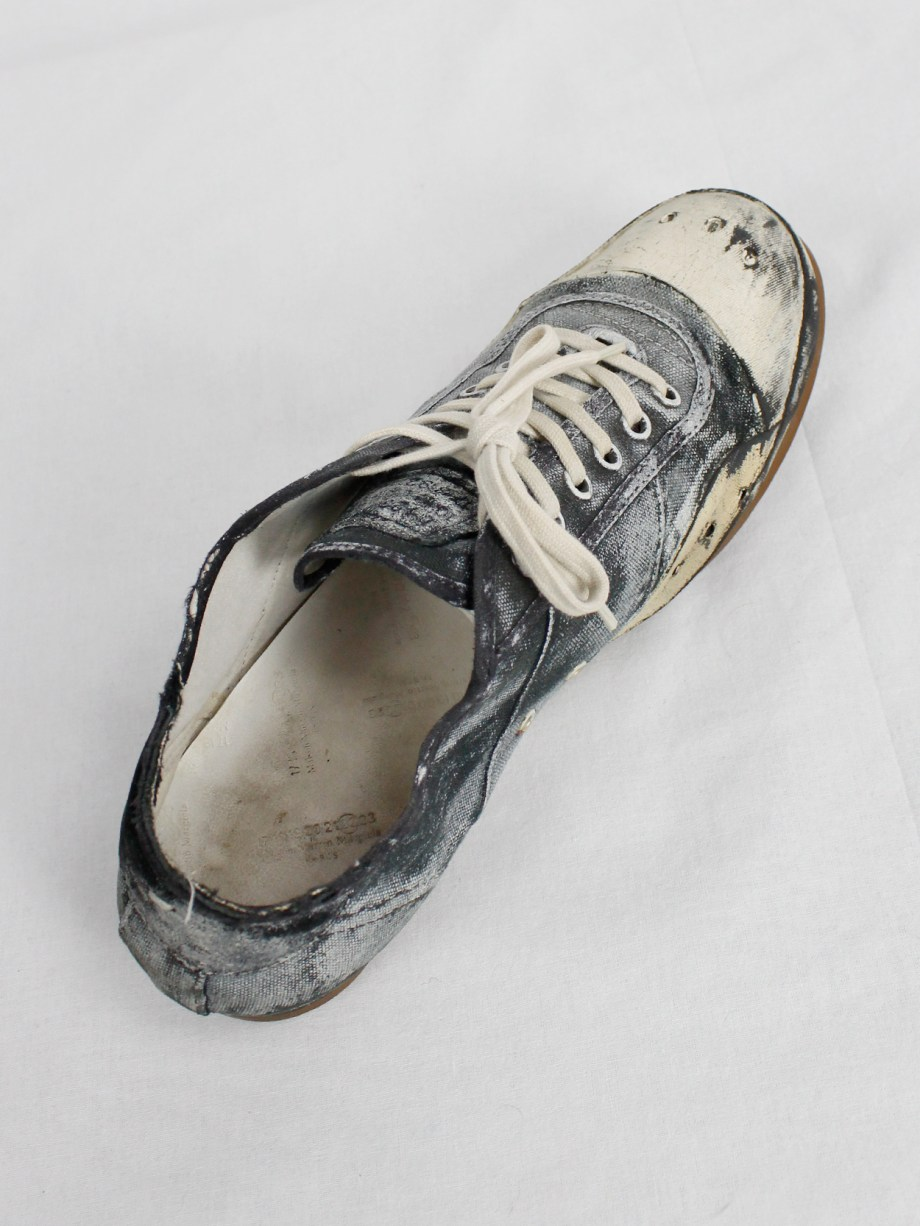 Maison Martin Margiela black and blue canvas sneakers painted in white (41) — fall 2006