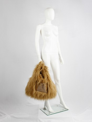 Margiela MM6 orange faux fur yeti shopper with clear outer pocket — fall 2016