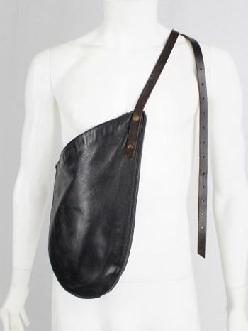 Nico Uytterhaegen black leather cross-body saddle bag