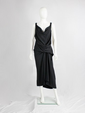 Rick Owens STRUTTER black dress with tornado drape and cowl neck — spring 2009