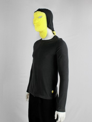 Walter Van Beirendonck Aestheticterrorists grey jumper with neon yellow mask — spring 2002